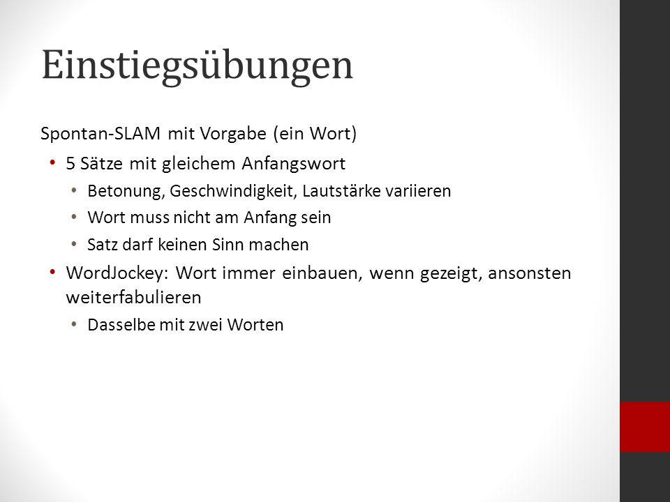 Links Bas Boettcher – Imbissdeutsch http://www.youtube.com/watch?v=k3skXhtaPUU http://www.youtube.com/watch?v=k3skXhtaPUU Daniel Wagner – 1000 Füllwörter http://youtu.be/ARDyJL3T-Nc http://youtu.be/ARDyJL3T-Nc Julia Engelmann – Einestages http://www.youtube.com/watch?v=DoxqZWvt7g8 http://www.youtube.com/watch?v=DoxqZWvt7g8 Julia Engelmann – Stille Wasser sind attraktiv http://www.youtube.com/watch?v=Q22MKYIpgUE http://www.youtube.com/watch?v=Q22MKYIpgUE Julian Heun – Seifenphrasen http://www.youtube.com/watch?v=UPag9XIOFs4 http://www.youtube.com/watch?v=UPag9XIOFs4 Sebastian 23 – Wenn alles einfach wäre http://www.youtube.com/watch?v=68NnYIATifk http://www.youtube.com/watch?v=68NnYIATifk