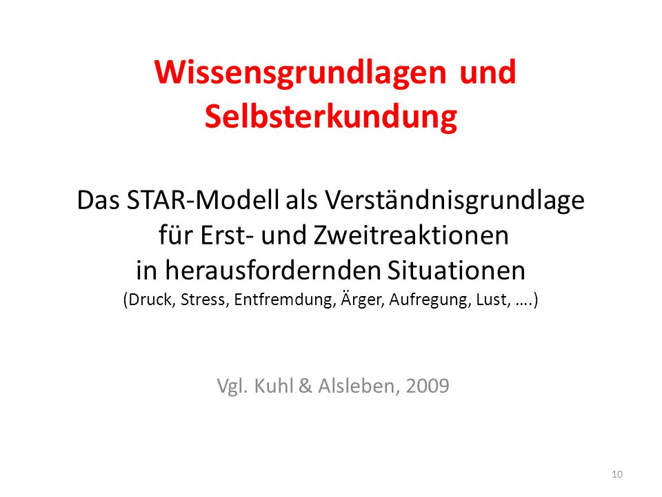 Wissensgrundlagen und Selbsterkundung Das STAR-Modell als Verständnisgrundlage für Erst- und Zweitreaktionen in herausfordernden Situationen (Druck, Stress, Entfremdung, Ärger, Aufregung, Lust, ….) Vgl.