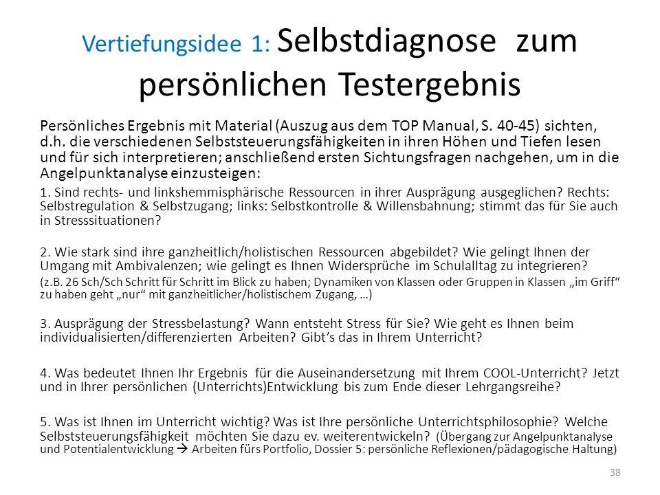 Vertiefungsidee 1: Selbstdiagnose zum persönlichen Testergebnis Persönliches Ergebnis mit Material (Auszug aus dem TOP Manual, S.
