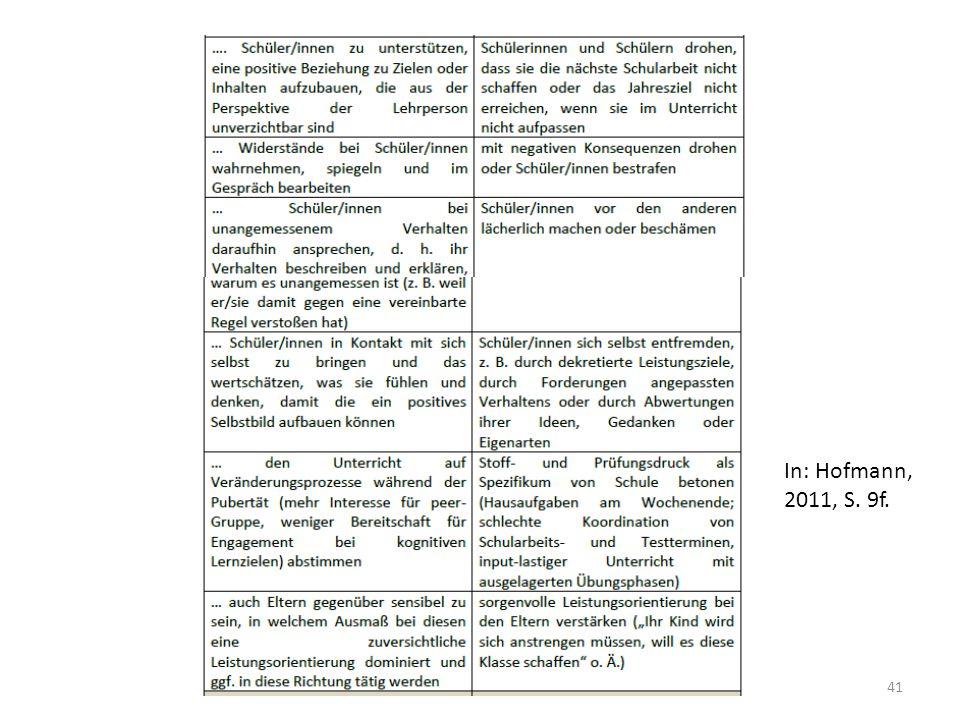 41 In: Hofmann, 2011, S. 9f.