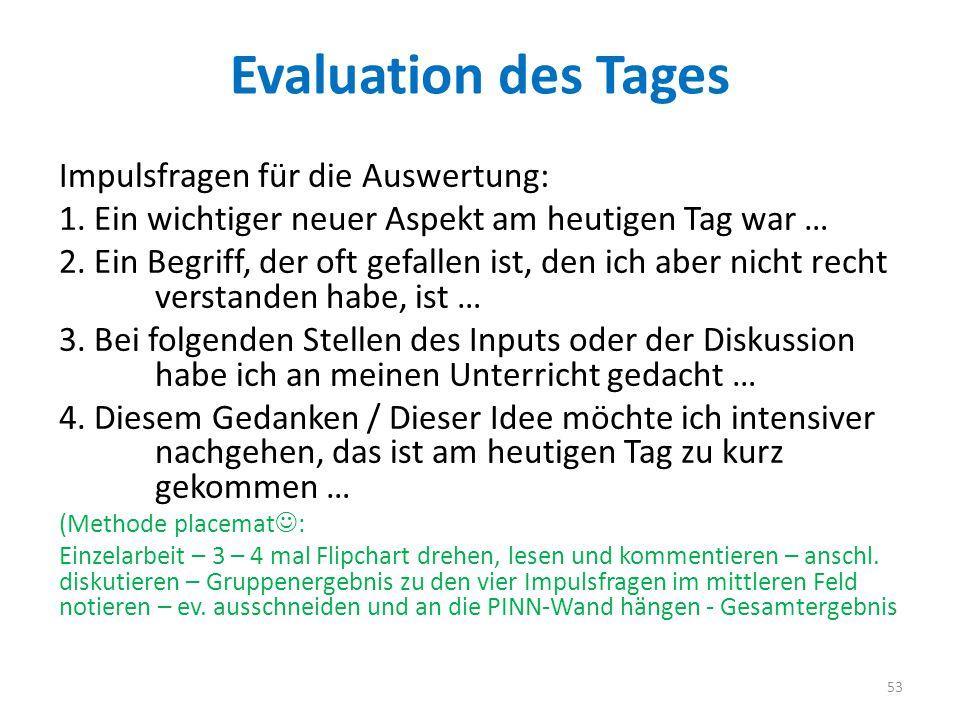 Evaluation des Tages Impulsfragen für die Auswertung: 1.