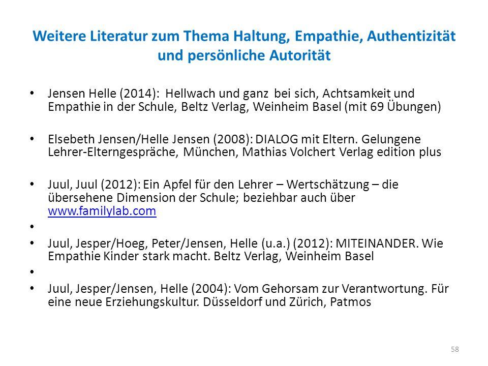 Weitere Literatur zum Thema Haltung, Empathie, Authentizität und persönliche Autorität Jensen Helle (2014): Hellwach und ganz bei sich, Achtsamkeit und Empathie in der Schule, Beltz Verlag, Weinheim Basel (mit 69 Übungen) Elsebeth Jensen/Helle Jensen (2008): DIALOG mit Eltern.