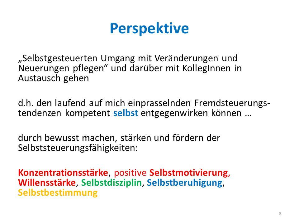"""Perspektive """"Selbstgesteuerten Umgang mit Veränderungen und Neuerungen pflegen und darüber mit KollegInnen in Austausch gehen d.h."""