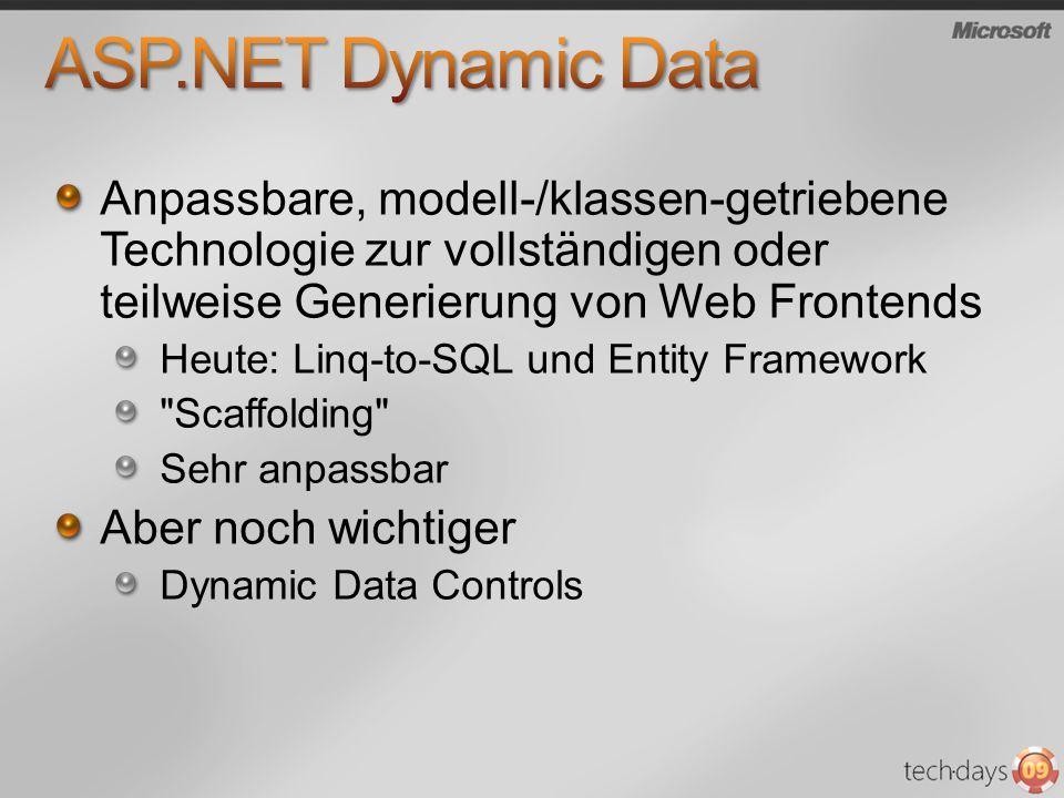 Anpassbare, modell-/klassen-getriebene Technologie zur vollständigen oder teilweise Generierung von Web Frontends Heute: Linq-to-SQL und Entity Framework Scaffolding Sehr anpassbar Aber noch wichtiger Dynamic Data Controls