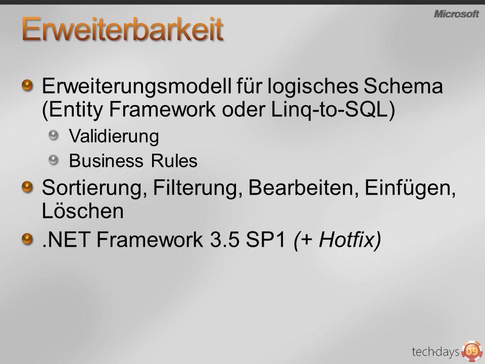 Erweiterungsmodell für logisches Schema (Entity Framework oder Linq-to-SQL) Validierung Business Rules Sortierung, Filterung, Bearbeiten, Einfügen, Löschen.NET Framework 3.5 SP1 (+ Hotfix)