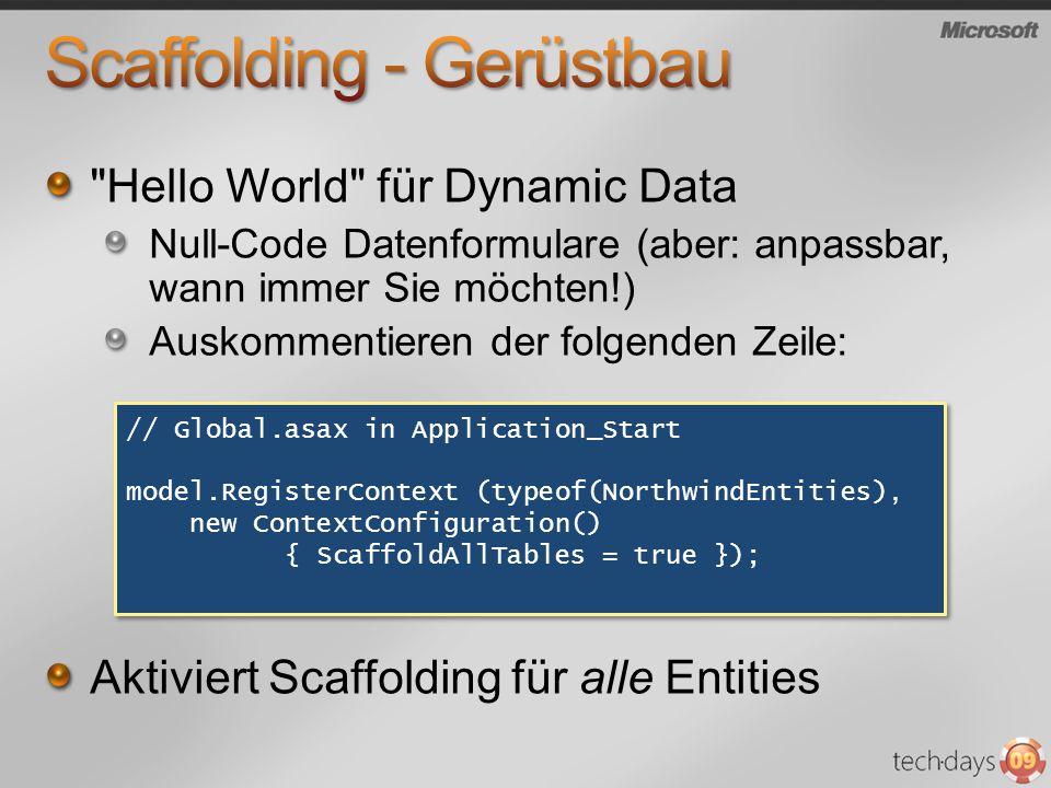 Standardmässig: Routing per Querystring, kann aber geändert werden: http://server/Customers http://server/Customers/ALFKI http://server/Customers/ALFKI/Edit...