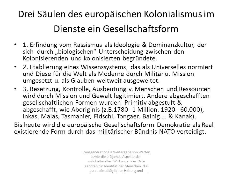Drei Säulen des europäischen Kolonialismus im Dienste ein Gesellschaftsform 1. Erfindung vom Rassismus als Ideologie & Dominanzkultur, der sich durch