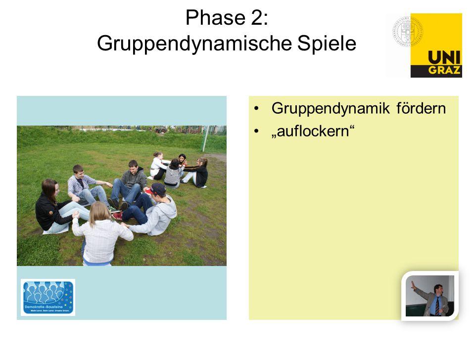 """Gruppendynamik fördern """"auflockern"""" Phase 2: Gruppendynamische Spiele"""