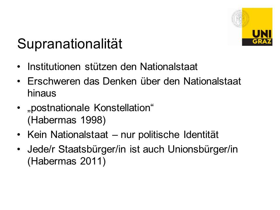 """Supranationalität Institutionen stützen den Nationalstaat Erschweren das Denken über den Nationalstaat hinaus """"postnationale Konstellation"""" (Habermas"""