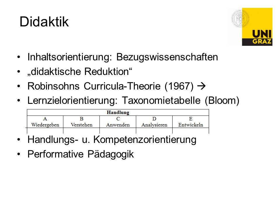 """Didaktik Inhaltsorientierung: Bezugswissenschaften """"didaktische Reduktion"""" Robinsohns Curricula-Theorie (1967)  Lernzielorientierung: Taxonomietabell"""