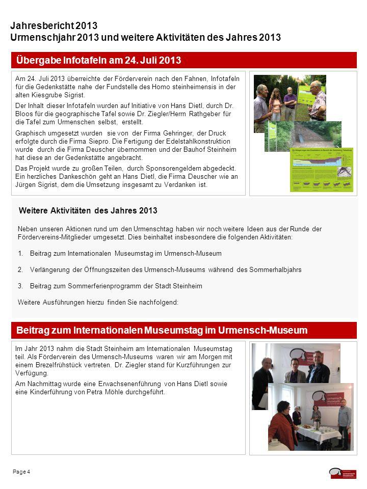 Page 4 Jahresbericht 2013 Urmenschjahr 2013 und weitere Aktivitäten des Jahres 2013 Beitrag zum Internationalen Museumstag im Urmensch-Museum Im Jahr 2013 nahm die Stadt Steinheim am Internationalen Museumstag teil.