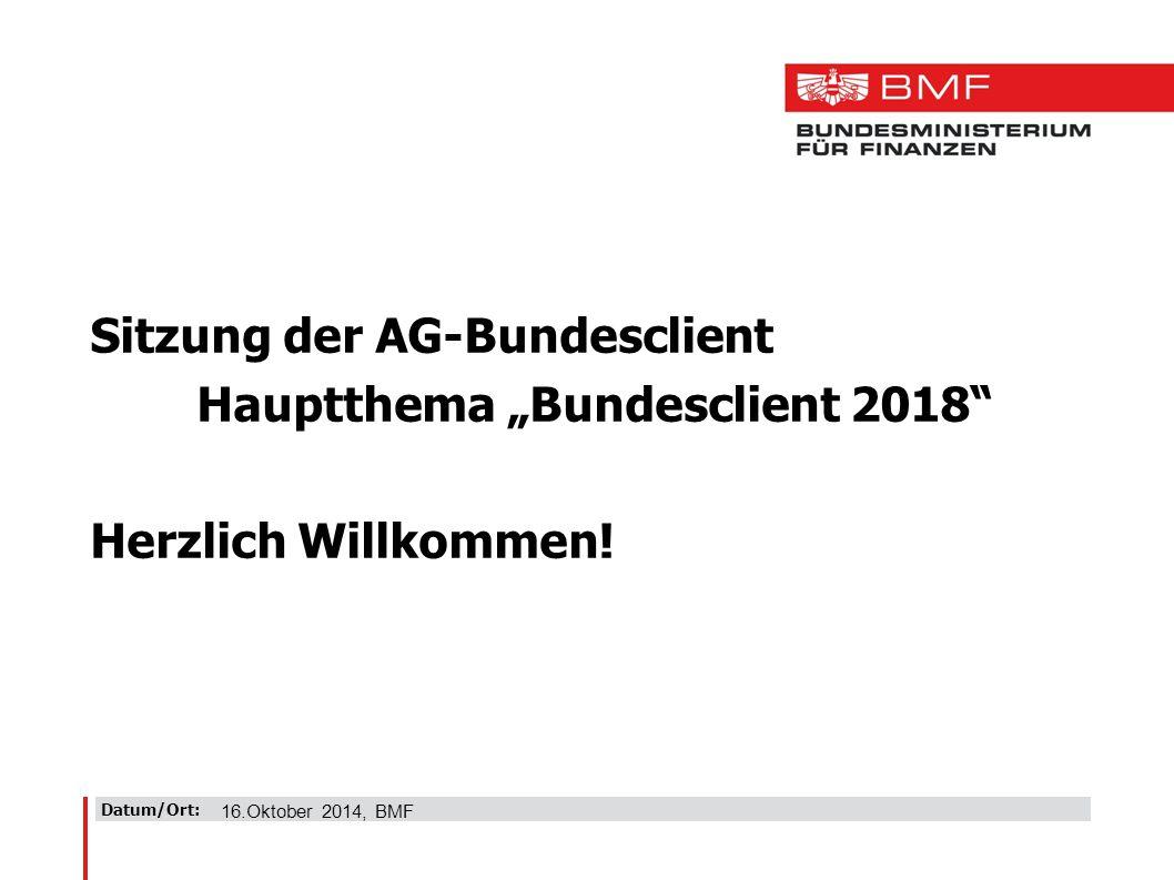"Datum/Ort: Sitzung der AG-Bundesclient Hauptthema ""Bundesclient 2018 Herzlich Willkommen."