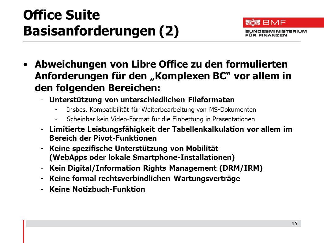"""Office Suite Basisanforderungen (2) Abweichungen von Libre Office zu den formulierten Anforderungen für den """"Komplexen BC vor allem in den folgenden Bereichen: -Unterstützung von unterschiedlichen Fileformaten -Insbes."""