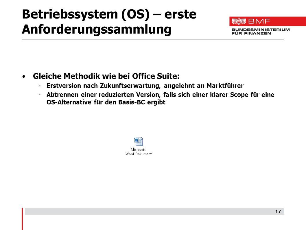 Betriebssystem (OS) – erste Anforderungssammlung Gleiche Methodik wie bei Office Suite: -Erstversion nach Zukunftserwartung, angelehnt an Marktführer -Abtrennen einer reduzierten Version, falls sich einer klarer Scope für eine OS-Alternative für den Basis-BC ergibt 17