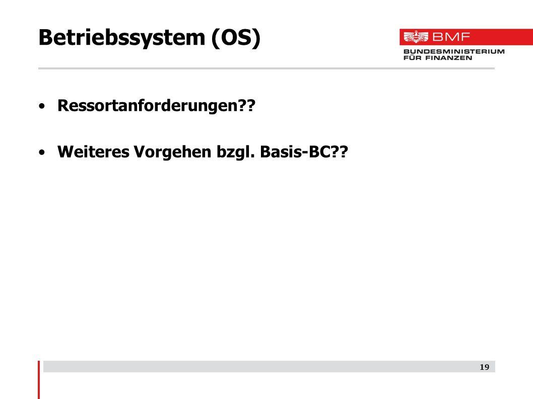 Betriebssystem (OS) Ressortanforderungen?? Weiteres Vorgehen bzgl. Basis-BC?? 19