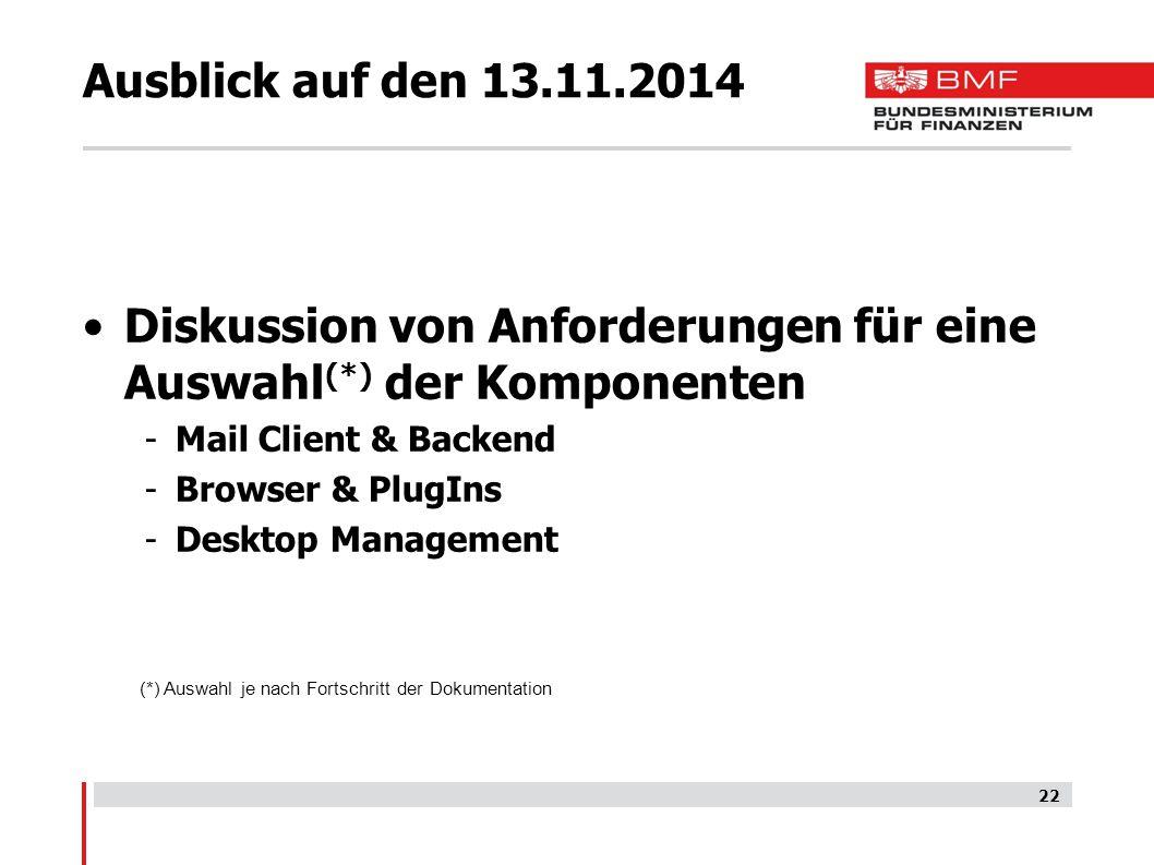 Ausblick auf den 13.11.2014 Diskussion von Anforderungen für eine Auswahl (*) der Komponenten -Mail Client & Backend -Browser & PlugIns -Desktop Management 22 (*) Auswahl je nach Fortschritt der Dokumentation