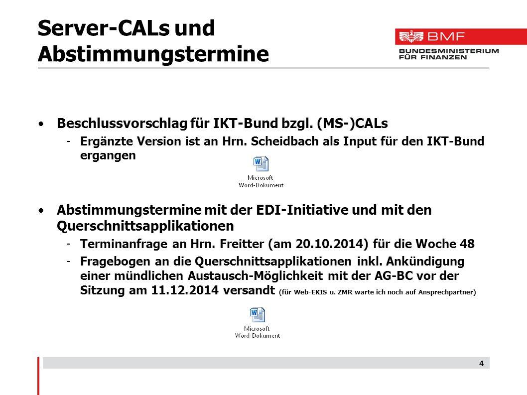 Server-CALs und Abstimmungstermine Beschlussvorschlag für IKT-Bund bzgl.