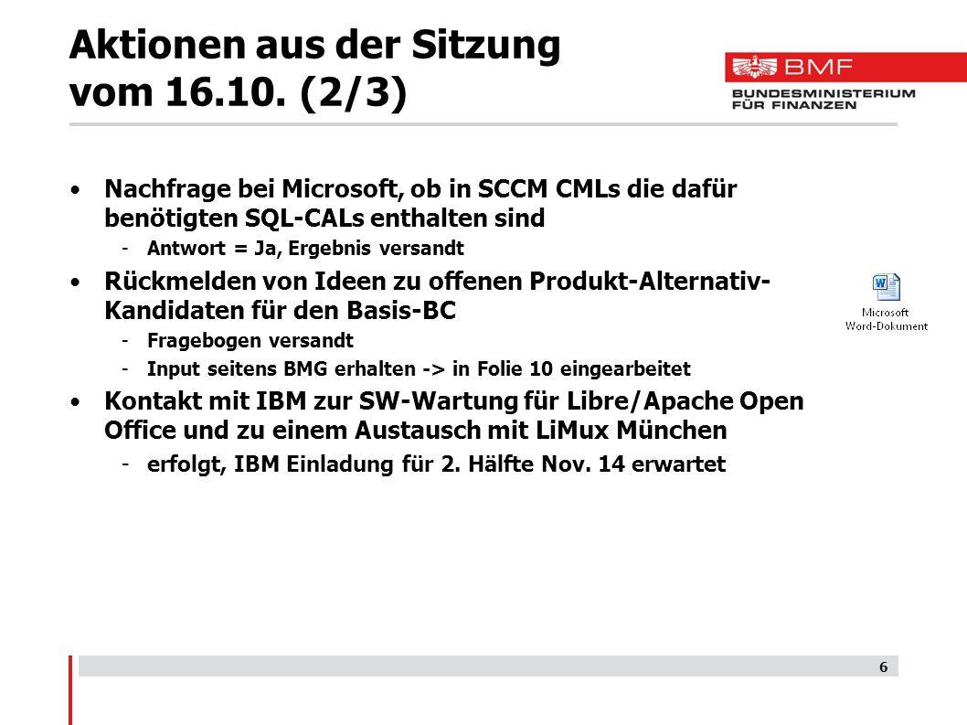 Aktionen aus der Sitzung vom 16.10.