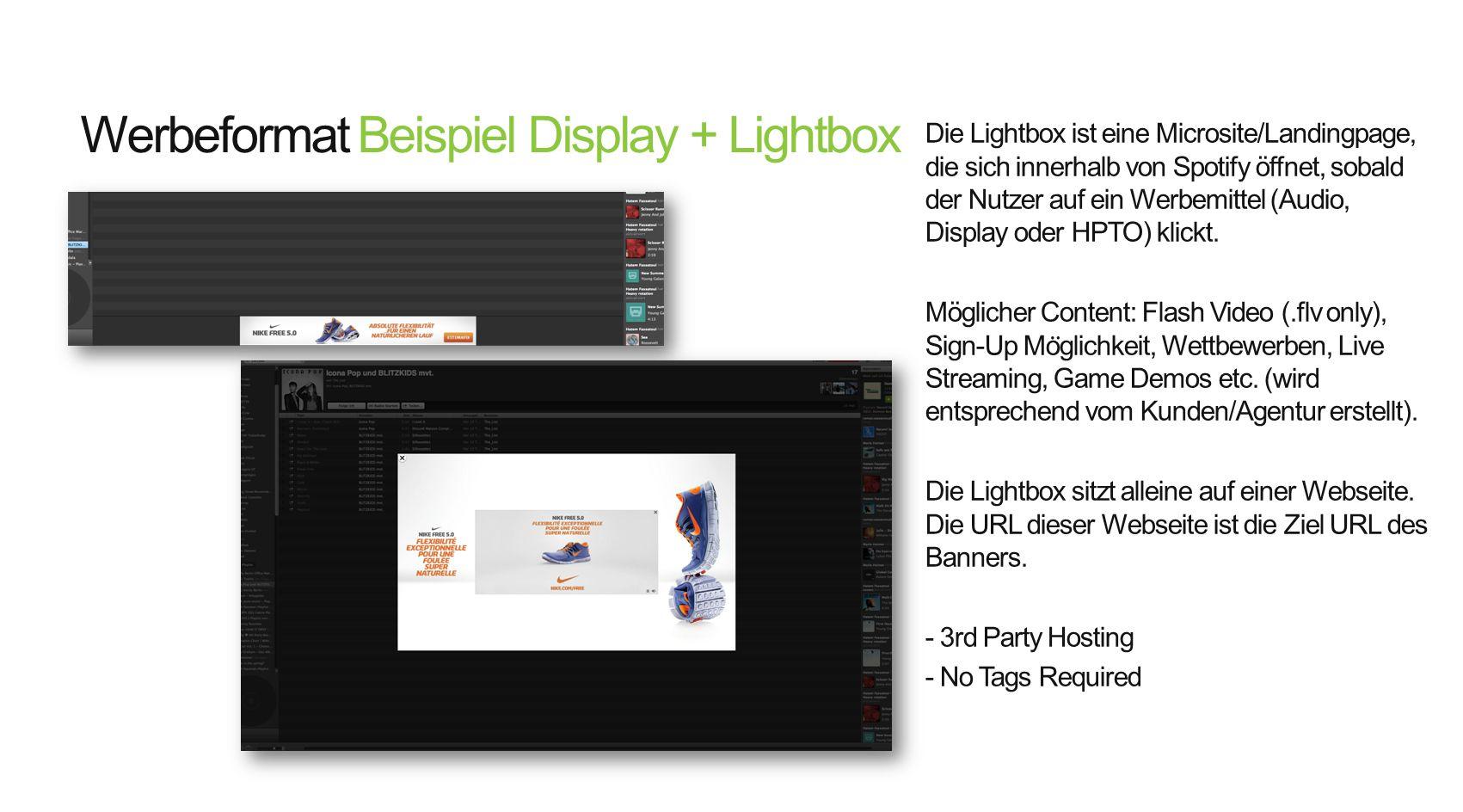 Werbeformat Beispiel Display + Lightbox Die Lightbox ist eine Microsite/Landingpage, die sich innerhalb von Spotify öffnet, sobald der Nutzer auf ein