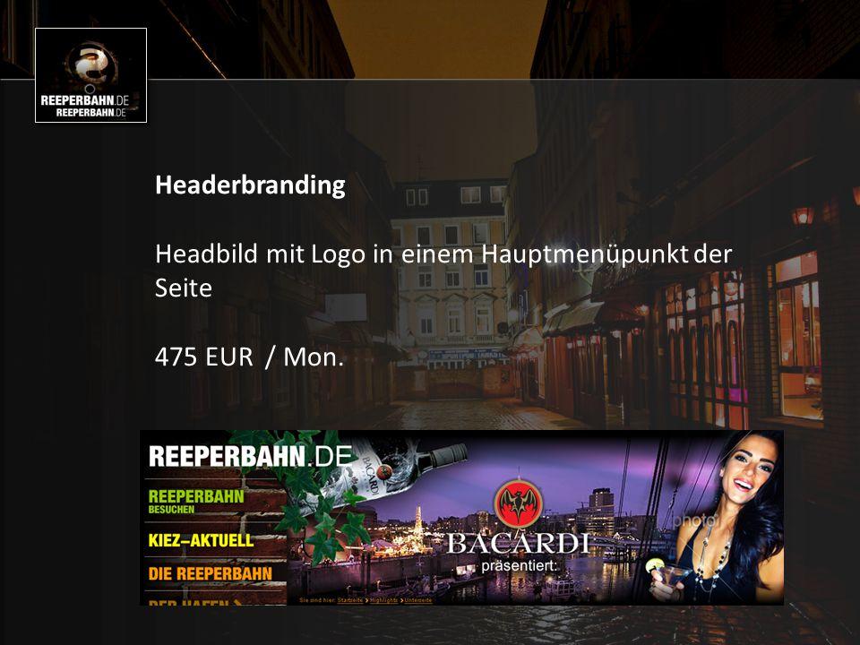 Headerbranding Headbild mit Logo in einem Hauptmenüpunkt der Seite 475 EUR / Mon.