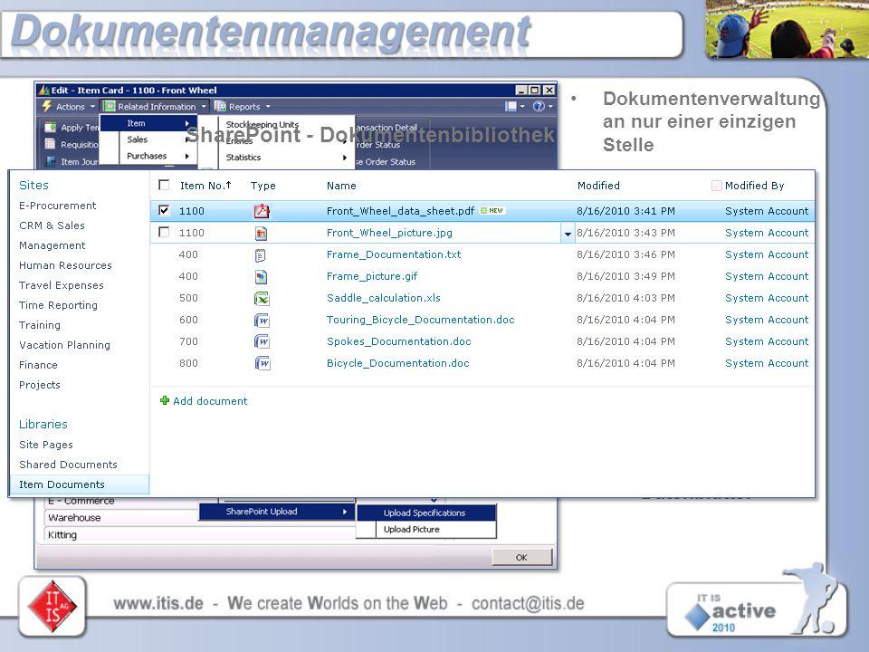 Dokumentenverwaltung an nur einer einzigen Stelle Upload von NAV- Dokumenten in eine SharePoint- Dokumentbibliothek Mit nur einem Blick:  Artikel- be