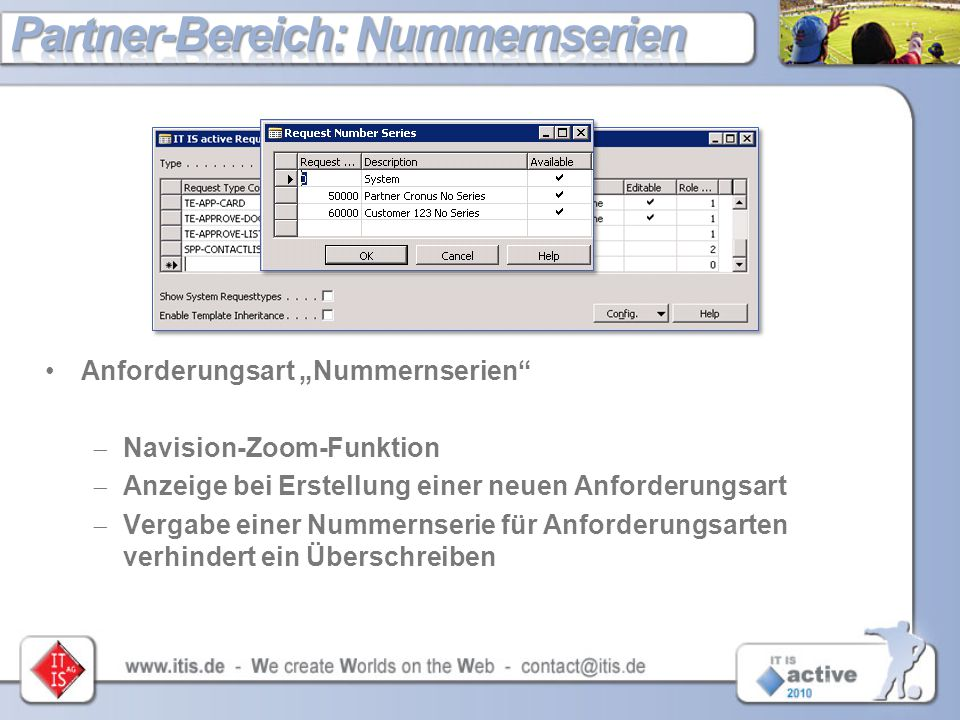 """Anforderungsart """"Nummernserien""""  Navision-Zoom-Funktion  Anzeige bei Erstellung einer neuen Anforderungsart  Vergabe einer Nummernserie für Anforde"""