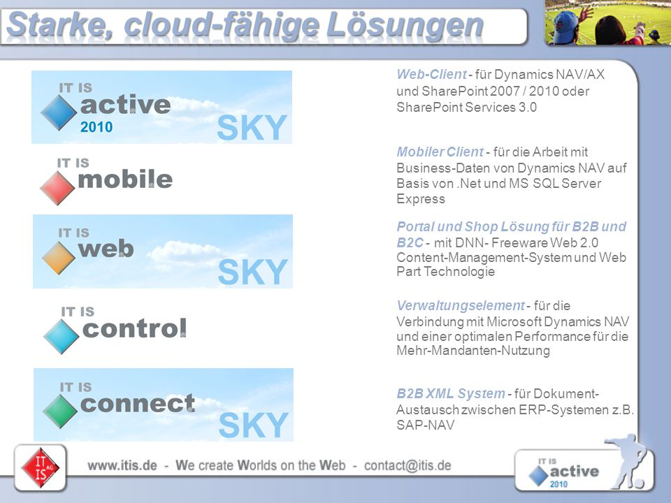 Web-Client - für Dynamics NAV/AX und SharePoint 2007 / 2010 oder SharePoint Services 3.0 Mobiler Client - für die Arbeit mit Business-Daten von Dynami