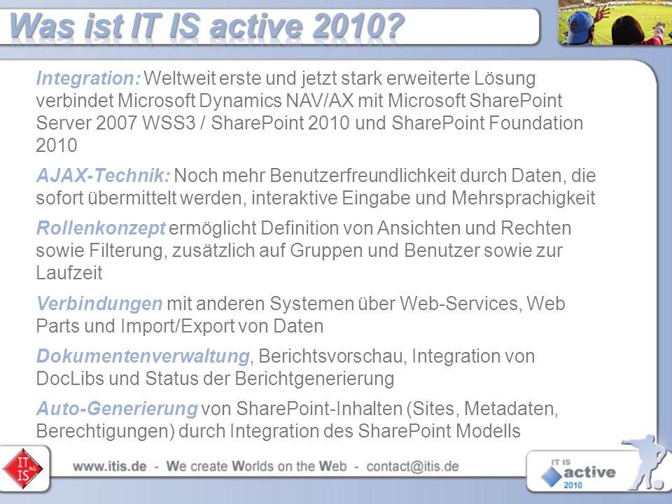 Integration: Weltweit erste und jetzt stark erweiterte Lösung verbindet Microsoft Dynamics NAV/AX mit Microsoft SharePoint Server 2007 WSS3 / SharePoi