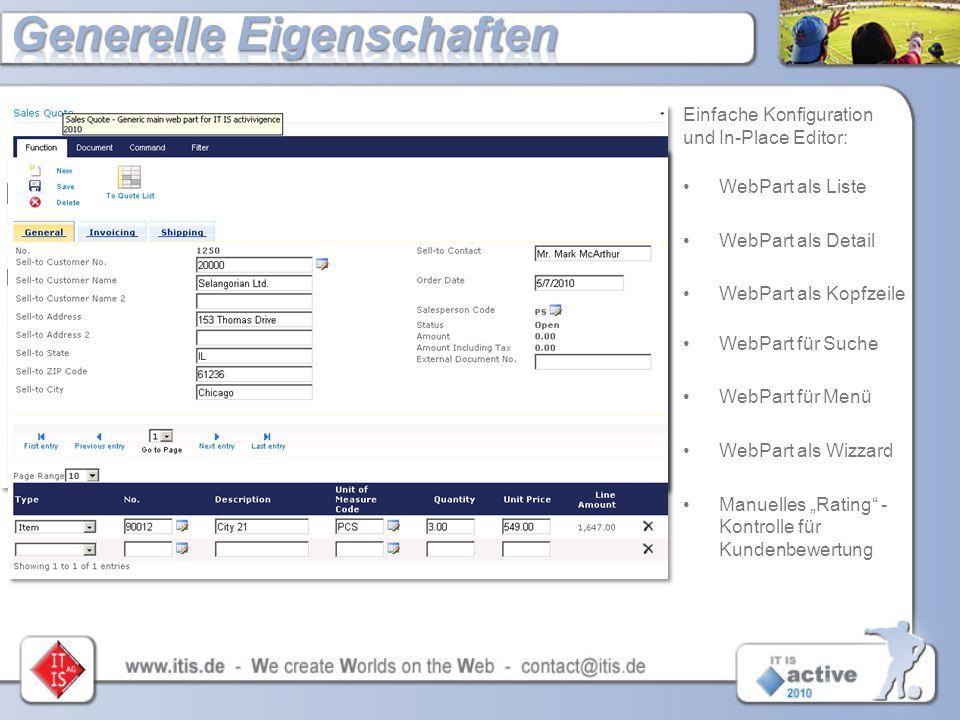 Einfache Konfiguration und In-Place Editor: WebPart als Liste WebPart als Detail WebPart als Kopfzeile WebPart für Suche WebPart für Menü WebPart als
