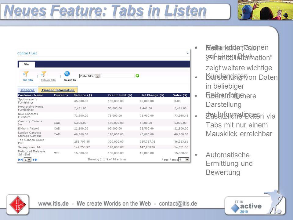 Mehr Informationen auf einen Blick Darstellung von Daten in beliebiger Reihenfolge Zusätzliche Daten via Tabs mit nur einem Mausklick erreichbar Autom