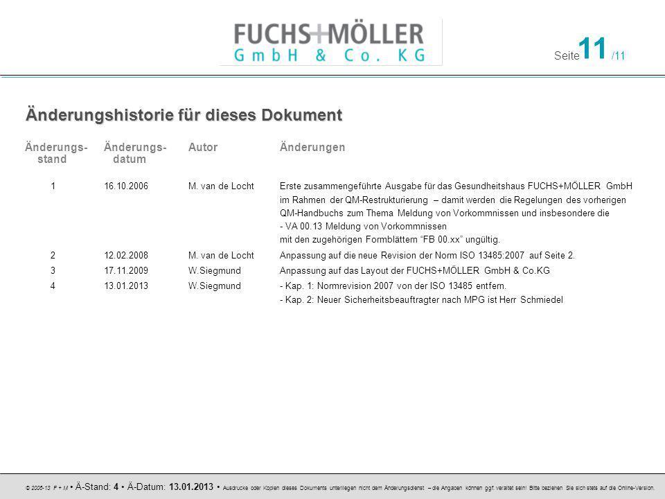 Seite 11 /11 © 2006-13 F + M Ä-Stand: 4 Ä-Datum: 13.01.2013 Ausdrucke oder Kopien dieses Dokuments unterliegen nicht dem Änderungsdienst – die Angaben