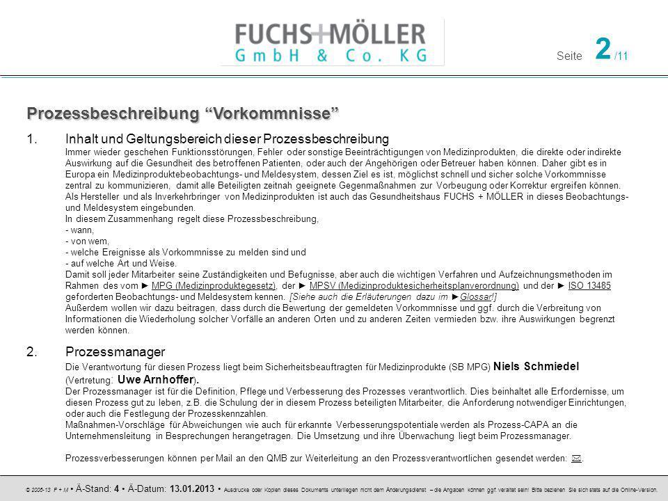 Seite 2 /11 © 2006-13 F + M Ä-Stand: 4 Ä-Datum: 13.01.2013 Ausdrucke oder Kopien dieses Dokuments unterliegen nicht dem Änderungsdienst – die Angaben