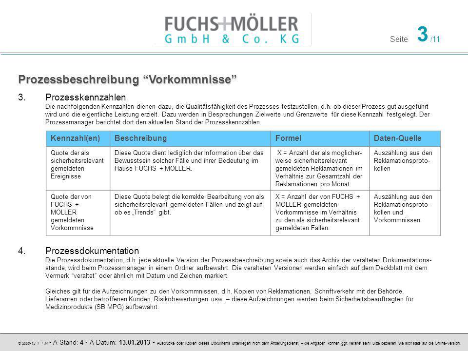Seite 3 /11 © 2006-13 F + M Ä-Stand: 4 Ä-Datum: 13.01.2013 Ausdrucke oder Kopien dieses Dokuments unterliegen nicht dem Änderungsdienst – die Angaben