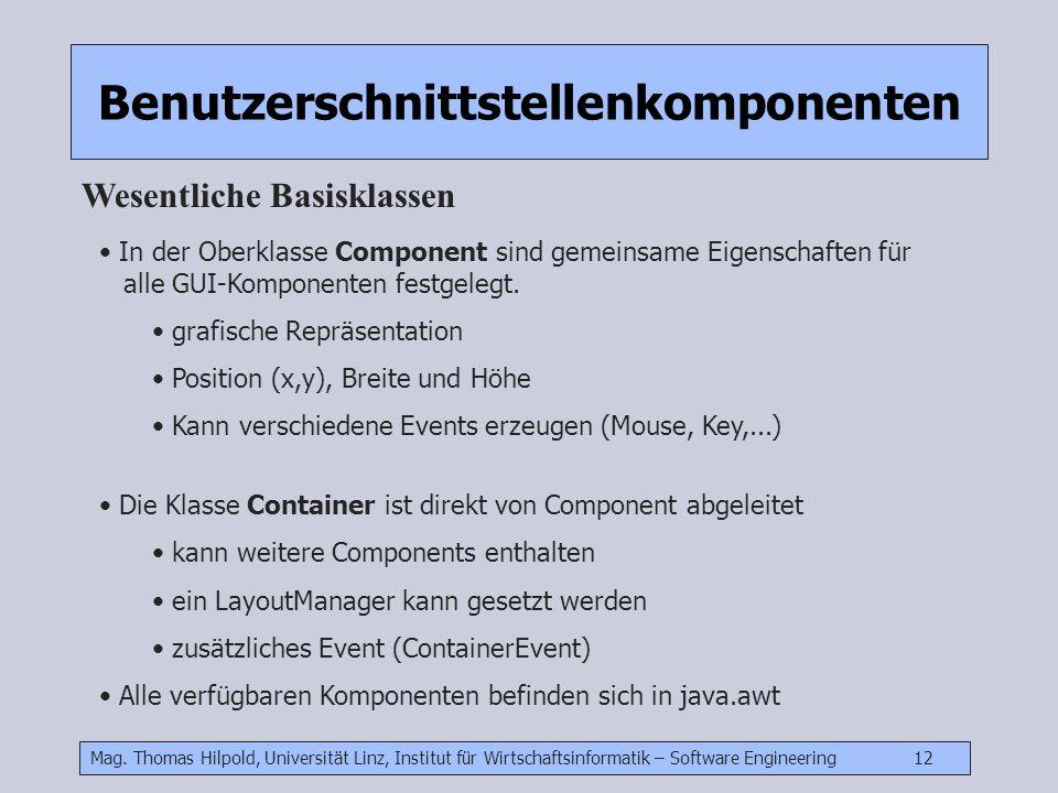 Mag. Thomas Hilpold, Universität Linz, Institut für Wirtschaftsinformatik – Software Engineering 12 Benutzerschnittstellenkomponenten Wesentliche Basi