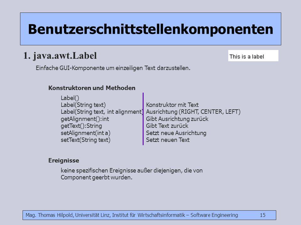 Mag. Thomas Hilpold, Universität Linz, Institut für Wirtschaftsinformatik – Software Engineering 15 Benutzerschnittstellenkomponenten 1. java.awt.Labe