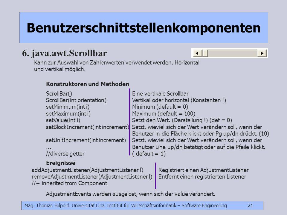 Mag. Thomas Hilpold, Universität Linz, Institut für Wirtschaftsinformatik – Software Engineering 21 Benutzerschnittstellenkomponenten 6. java.awt.Scro