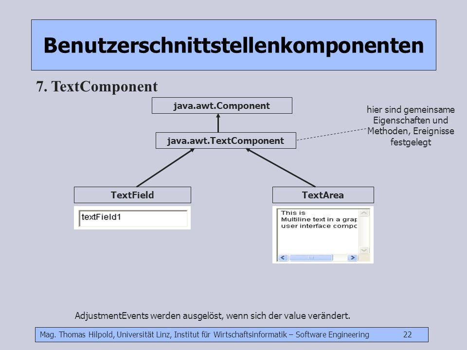 Mag. Thomas Hilpold, Universität Linz, Institut für Wirtschaftsinformatik – Software Engineering 22 Benutzerschnittstellenkomponenten 7. TextComponent