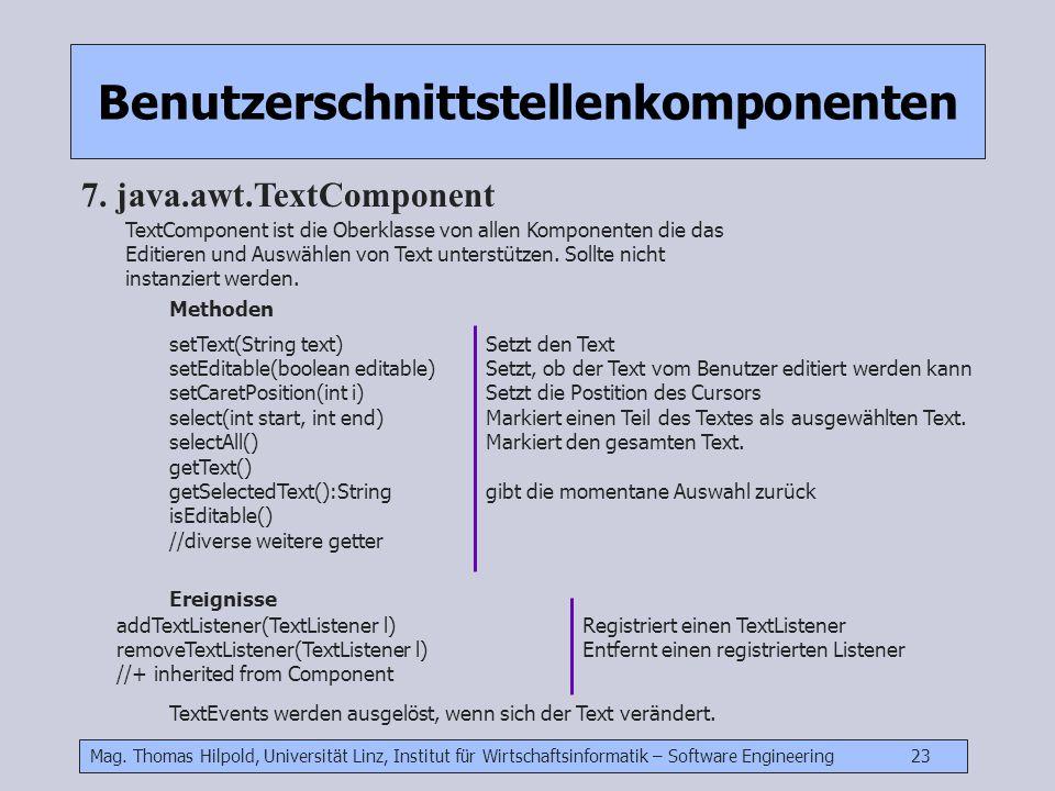 Mag. Thomas Hilpold, Universität Linz, Institut für Wirtschaftsinformatik – Software Engineering 23 Benutzerschnittstellenkomponenten 7. java.awt.Text