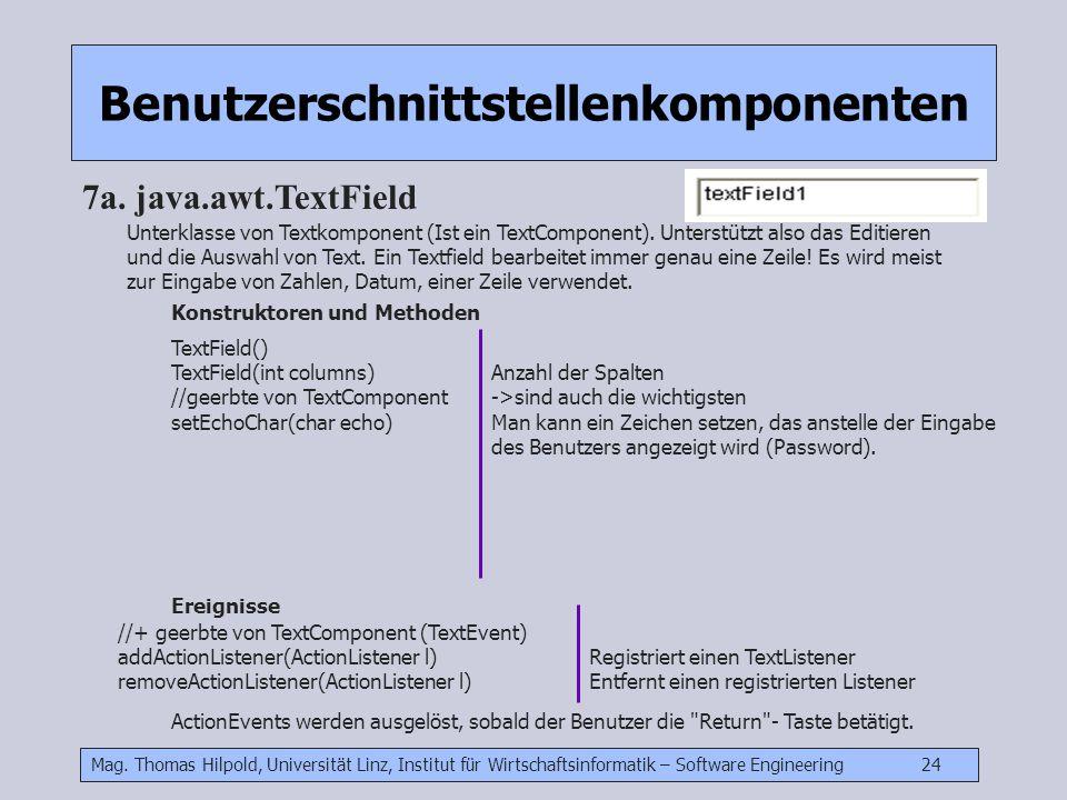 Mag. Thomas Hilpold, Universität Linz, Institut für Wirtschaftsinformatik – Software Engineering 24 Benutzerschnittstellenkomponenten 7a. java.awt.Tex