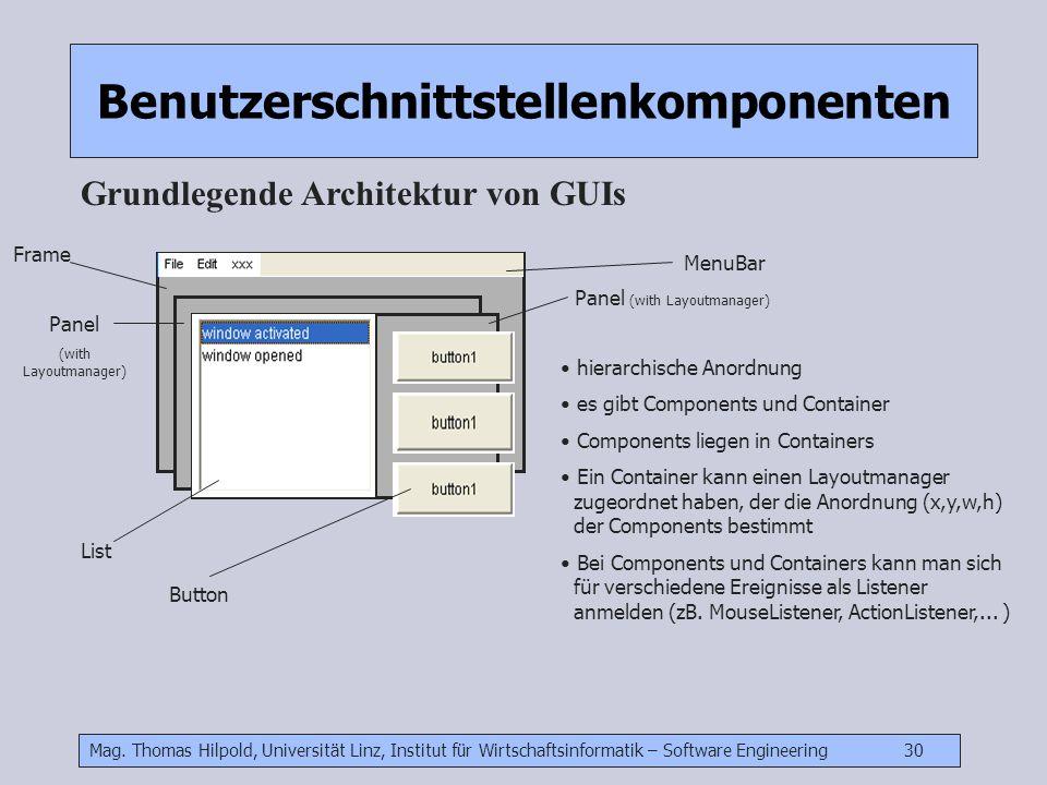 Mag. Thomas Hilpold, Universität Linz, Institut für Wirtschaftsinformatik – Software Engineering 30 Benutzerschnittstellenkomponenten Grundlegende Arc