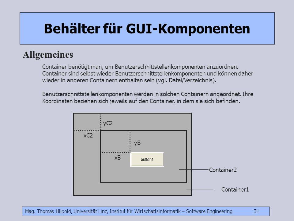 Mag. Thomas Hilpold, Universität Linz, Institut für Wirtschaftsinformatik – Software Engineering 31 Behälter für GUI-Komponenten Allgemeines Container