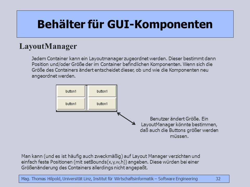 Mag. Thomas Hilpold, Universität Linz, Institut für Wirtschaftsinformatik – Software Engineering 32 Behälter für GUI-Komponenten LayoutManager Jedem C