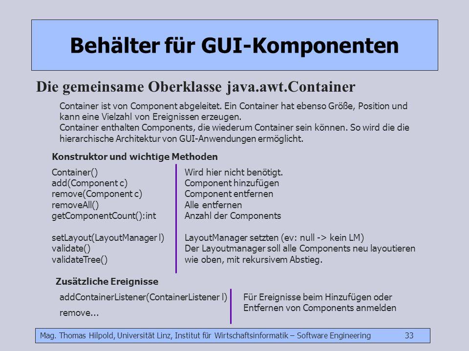 Mag. Thomas Hilpold, Universität Linz, Institut für Wirtschaftsinformatik – Software Engineering 33 Behälter für GUI-Komponenten Die gemeinsame Oberkl