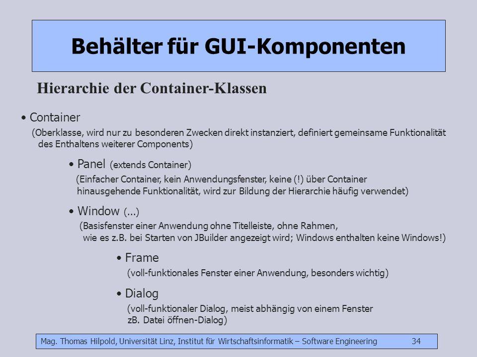 Mag. Thomas Hilpold, Universität Linz, Institut für Wirtschaftsinformatik – Software Engineering 34 Behälter für GUI-Komponenten Hierarchie der Contai