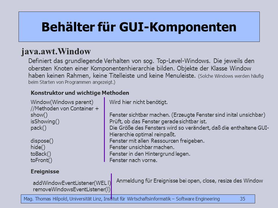Mag. Thomas Hilpold, Universität Linz, Institut für Wirtschaftsinformatik – Software Engineering 35 Behälter für GUI-Komponenten java.awt.Window Defin