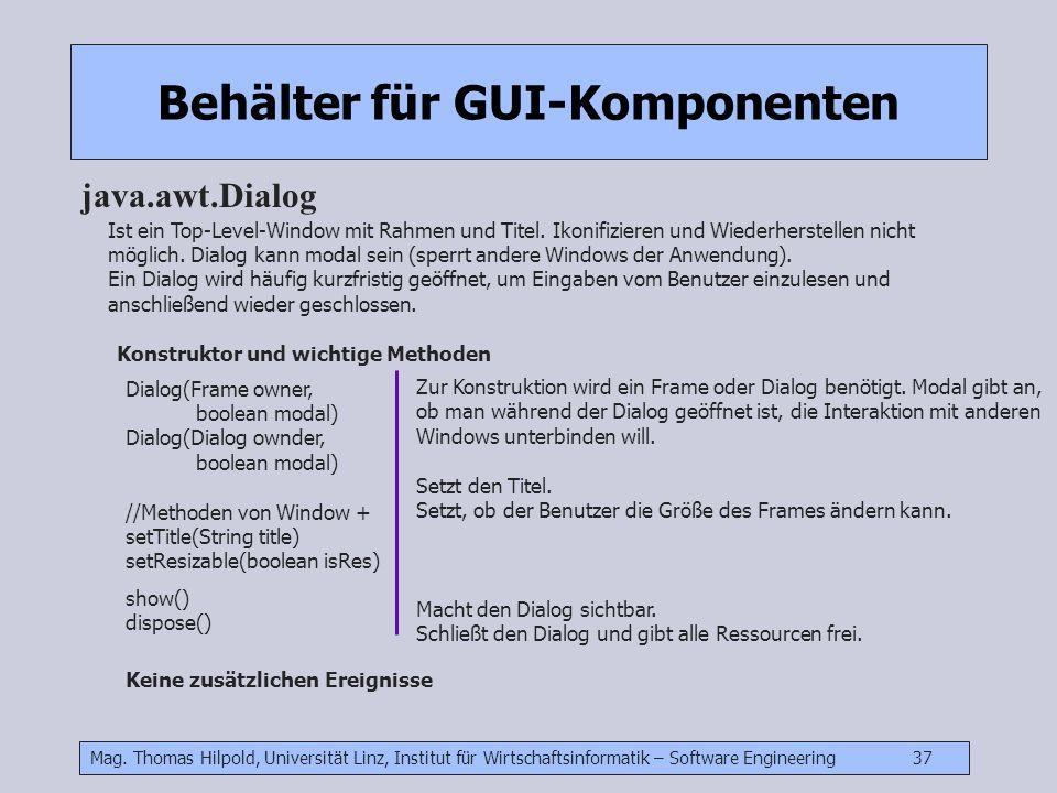 Mag. Thomas Hilpold, Universität Linz, Institut für Wirtschaftsinformatik – Software Engineering 37 Behälter für GUI-Komponenten java.awt.Dialog Ist e