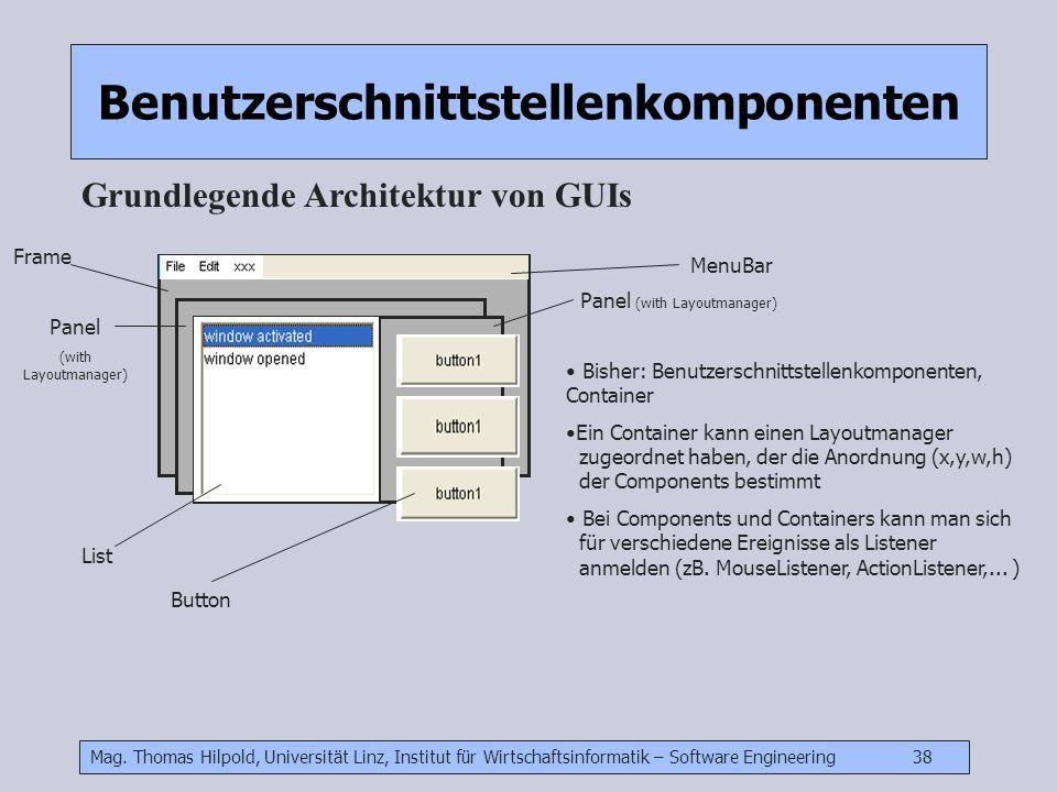 Mag. Thomas Hilpold, Universität Linz, Institut für Wirtschaftsinformatik – Software Engineering 38 Benutzerschnittstellenkomponenten Grundlegende Arc