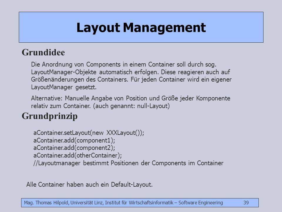 Mag. Thomas Hilpold, Universität Linz, Institut für Wirtschaftsinformatik – Software Engineering 39 Layout Management Grundidee Die Anordnung von Comp