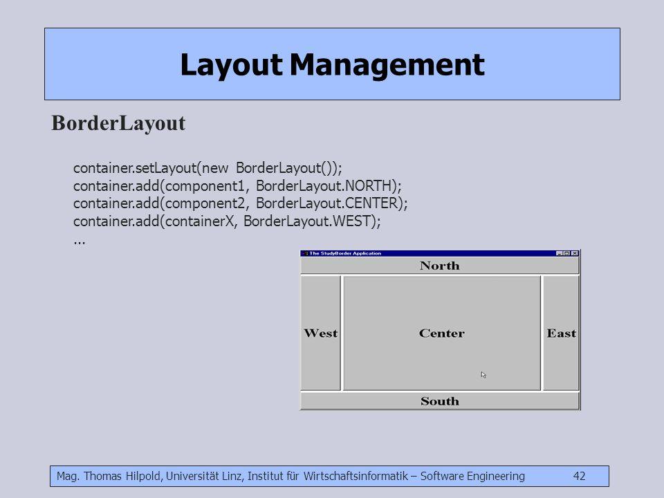 Mag. Thomas Hilpold, Universität Linz, Institut für Wirtschaftsinformatik – Software Engineering 42 Layout Management BorderLayout container.setLayout