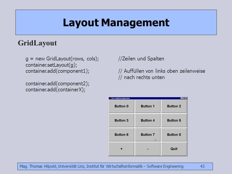 Mag. Thomas Hilpold, Universität Linz, Institut für Wirtschaftsinformatik – Software Engineering 43 Layout Management GridLayout g = new GridLayout(ro
